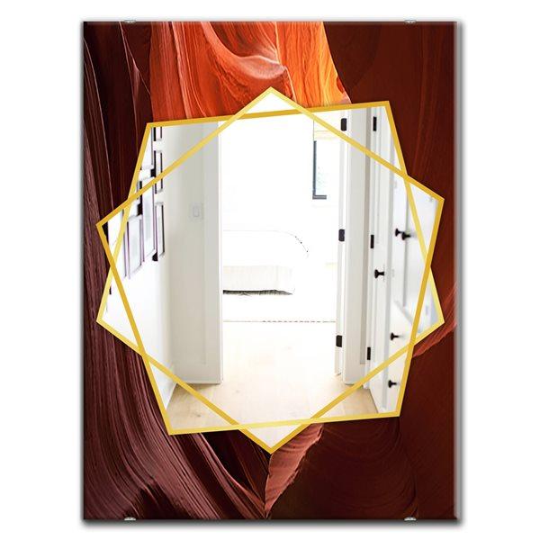 DesignArt 35.4-in x 23.6-in Lower Antelope Slot Canyon Traditional Rectangular Mirror