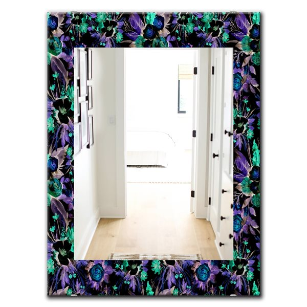 DesignArt 35.4-in x 23.6-in Green Flowers 13 Traditional Rectangular Mirror