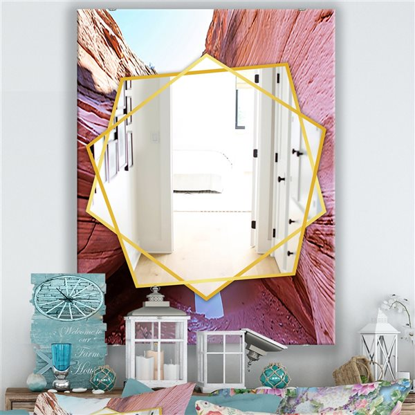 DesignArt 35.4-in x 23.6-in Deserts Colorful Sandstone Formation Traditional Rectangular Mirror