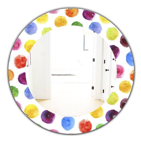 DesignArt 24-in x 24-in Pattern With Multicolor Watercolor Spots Modern Mirror