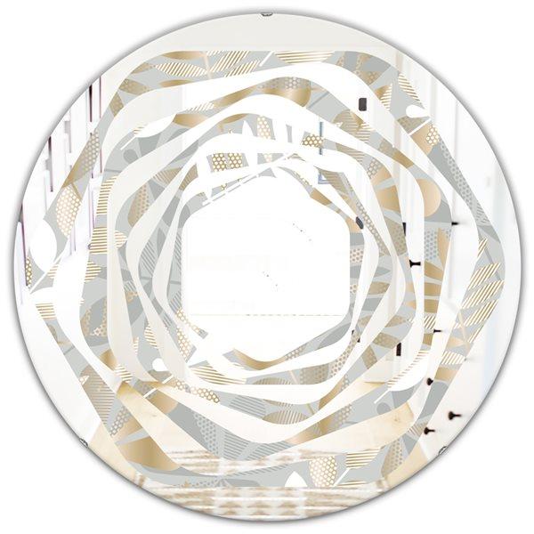 DesignArt Golden Tropical Pattern VIII Modern Round 24-in Wall Mirror