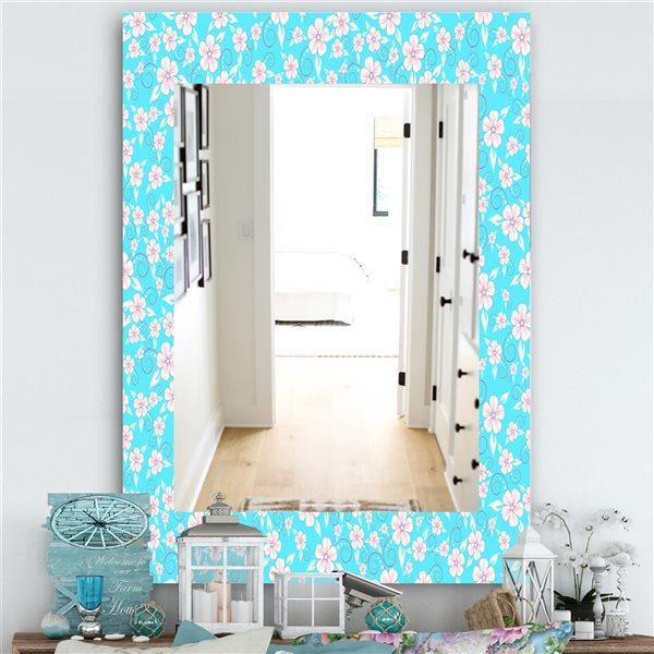 DesignArt 35.4-in x 23.6-in Flower Pattern Modern Rectangular Mirror