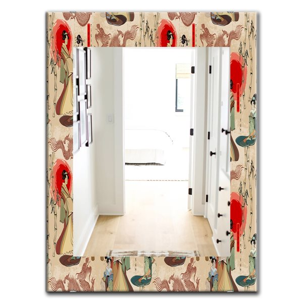 DesignArt 35.4-in x 23.6-in Japanese Geishas and Dragons Bohemian and Eclectic Rectangular Mirror