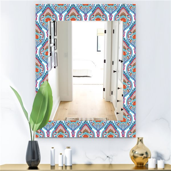 DesignArt 35.4-in x 23.6-in Damask Pattern Bohemian and Eclectic Rectangular Mirror