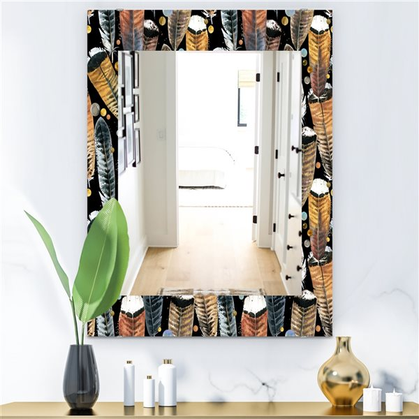 DesignArt 35.4-in x 23.6-in Feathers 1 Bohemian and Eclectic Rectangular Mirror