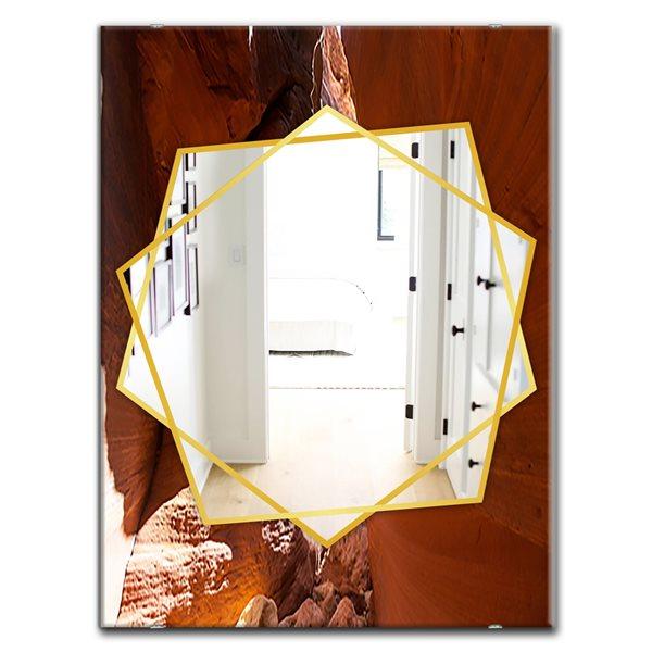 DesignArt 35.4-in x 23.6-in Arizona Antelope Canyon Closeup Traditional Rectangular Mirror