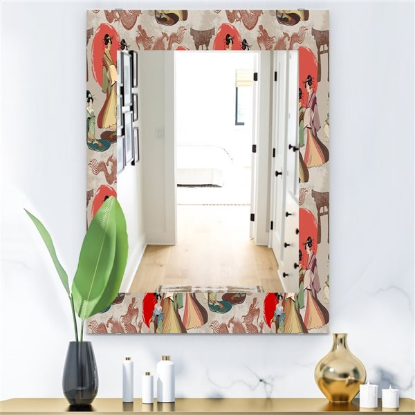 DesignArt 35.4-in x 23.6-in Japanese and Chinese Culture Pattern Bohemian and Eclectic Rectangular Mirror