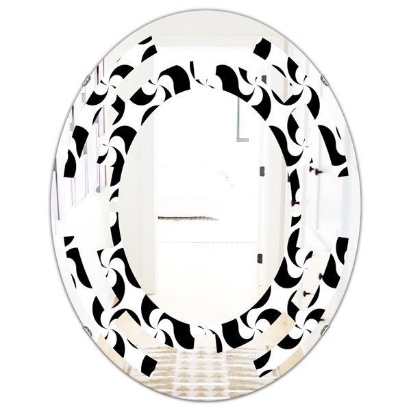 DesignArt 23.7-in x 31.5-in Monochrome Geometric Pattern IV Modern Oval Wall Mirror