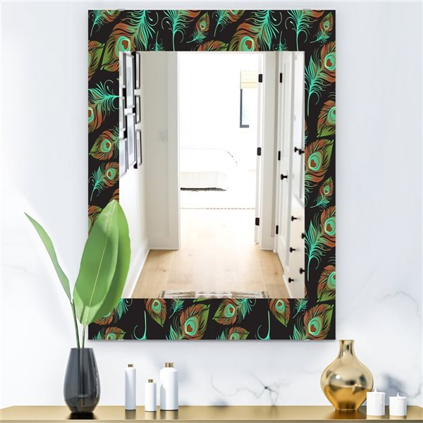 DesignArt 35.4-in x 23.6-in Feathers 5 Bohemian and Eclectic Rectangular Mirror