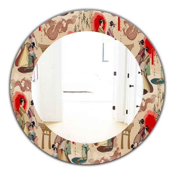 DesignArt 24-in x 24-in Japanese Geishas and Dragons Bohemian and Eclectic Rectangular Mirror