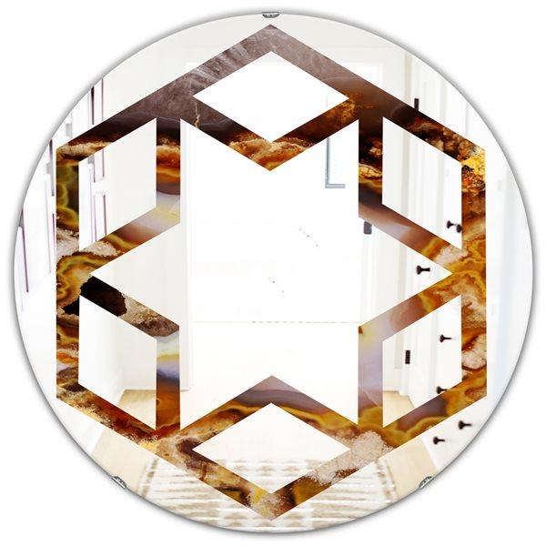 DesignArt 24-in x 24-in Sand Close Up Modern Round Wall Mirror