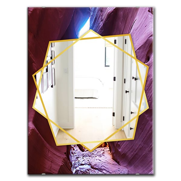 DesignArt 35.4-in x 23.6-in Slot Canyon In The Upper Antelope Traditional Rectangular Mirror