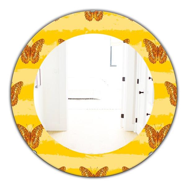DesignArt 24-in x 24-in Yellow Moods 10 Modern Mirror