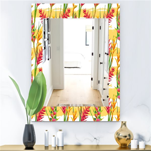 DesignArt 35.4-in x 23.6-in Tropical Mood Bright 3 Bohemian and Eclectic Rectangular Mirror