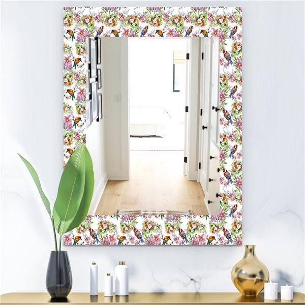 DesignArt 35.4-in x 23.6-in Pattern With Flowers and Birds Traditional Rectangular Mirror