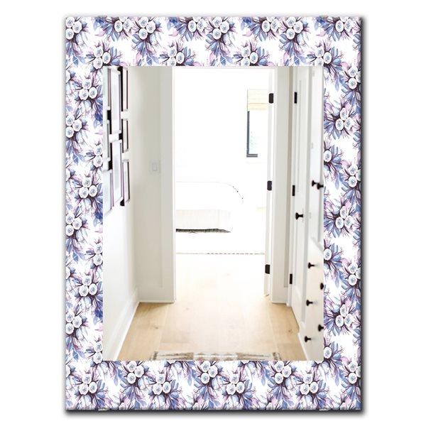 DesignArt 35.4-in x 23.6-in Purple Bloom 3 Traditional Rectangular Mirror