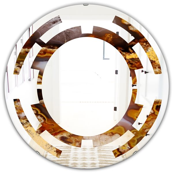 DesignArt 24-in Sand Close Up Modern Round Wall Mirror