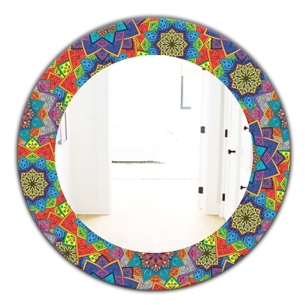 DesignArt 24-in x 24-in Colored Indian Ornament Bohemian and Eclectic Mirror