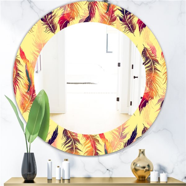 DesignArt 24-in x 24-in Feathers 13 Bohemian and Eclectic Mirror
