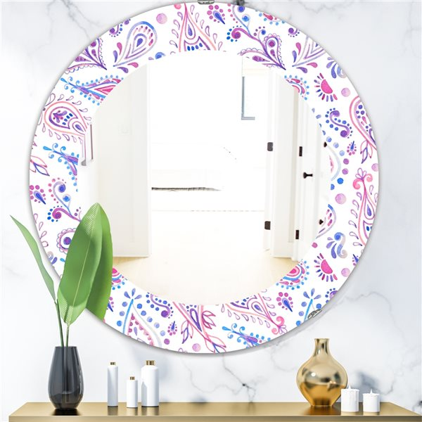 DesignArt 24-in x 24-in Paisley 3 Bohemian and Eclectic Mirror