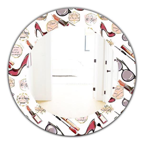 DesignArt 24-in x 24-in Fancy Happy Lady Makeup Modern Mirror