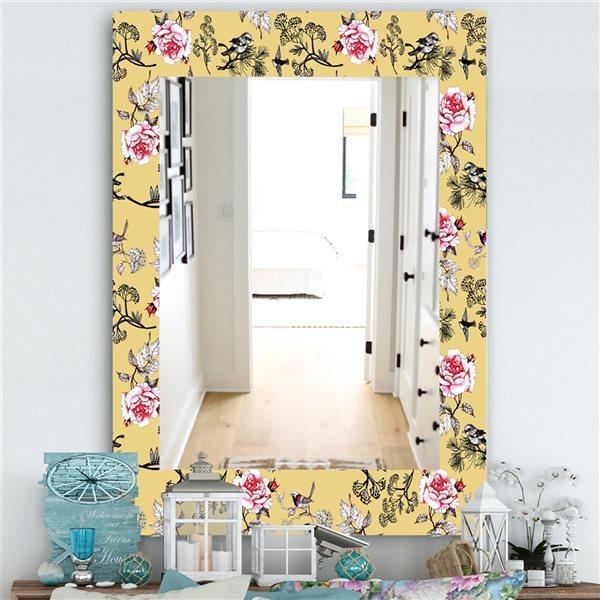 DesignArt 35.4-in x 23.6-in Pink Blossom 4 Traditional Rectangular Mirror