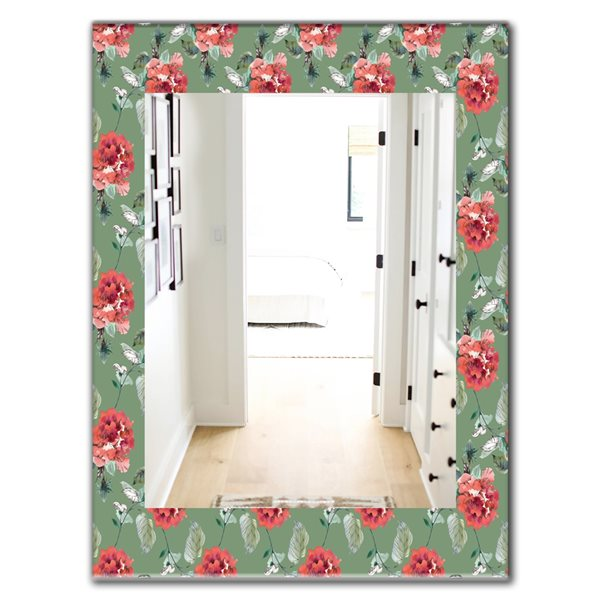 DesignArt 35.4-in x 23.6-in Green Flowers 1 Traditional Rectangular Mirror