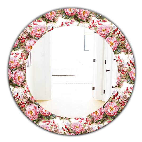 DesignArt 24-in x 24-in Pink Blossom 1 Farmhouse Mirror