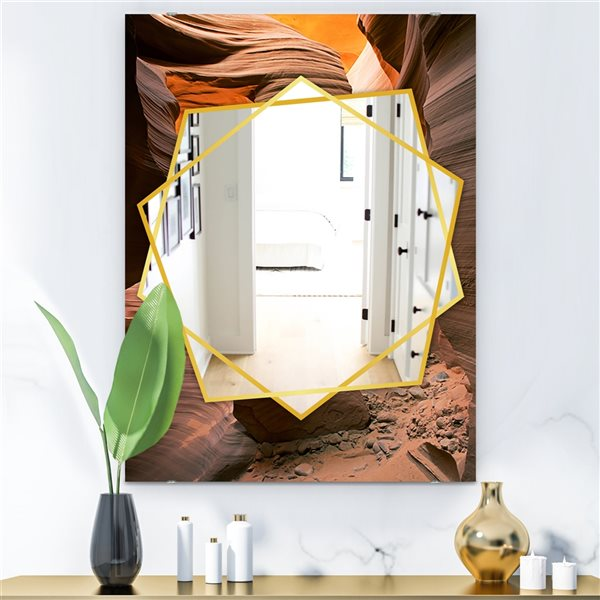 DesignArt 35.4-in x 23.6-in Lower Antelope Slot Canyon In Reflected Sunlight Traditional Rectangular Mirror