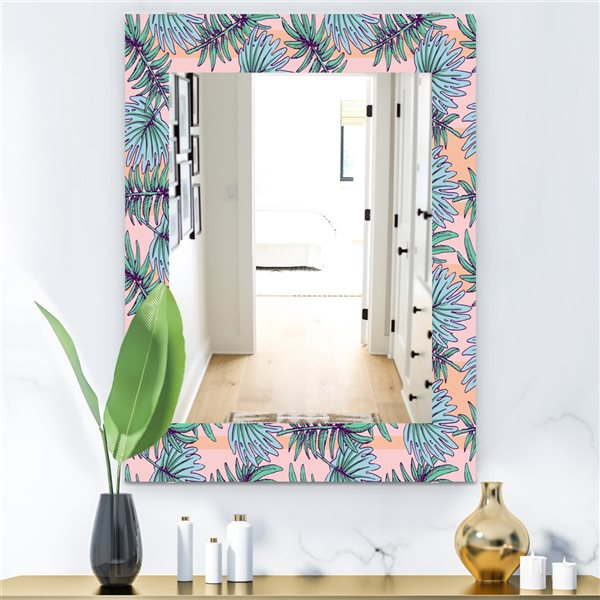 DesignArt 35.4-in x 23.6-in Summer Colorful HawaIIan Pattern With Tropical Plants Rectangular Mirror