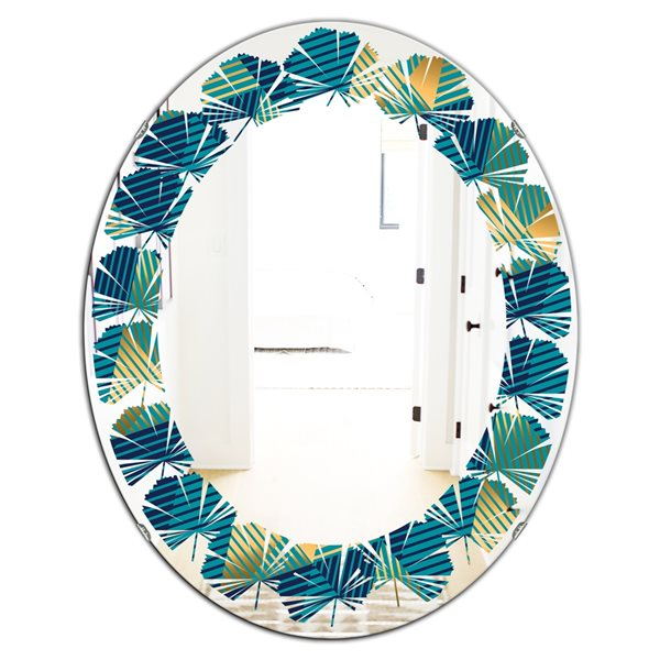 DesignArt 31.5-in x 23.7-in Retro Luxury Waves In Gold And Blue VII Oval Wall Mirror