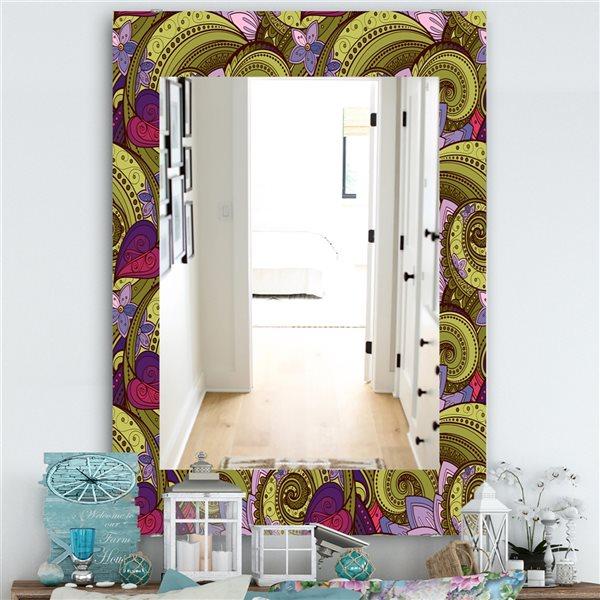 DesignArt 35.4-in x 23.6-in Floral Pattern, Paisley Garden Style Traditional Rectangular Mirror