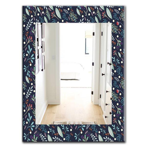 DesignArt 35.4-in x 23.6-in Obsidian Bloom 9 Modern Rectangular Mirror