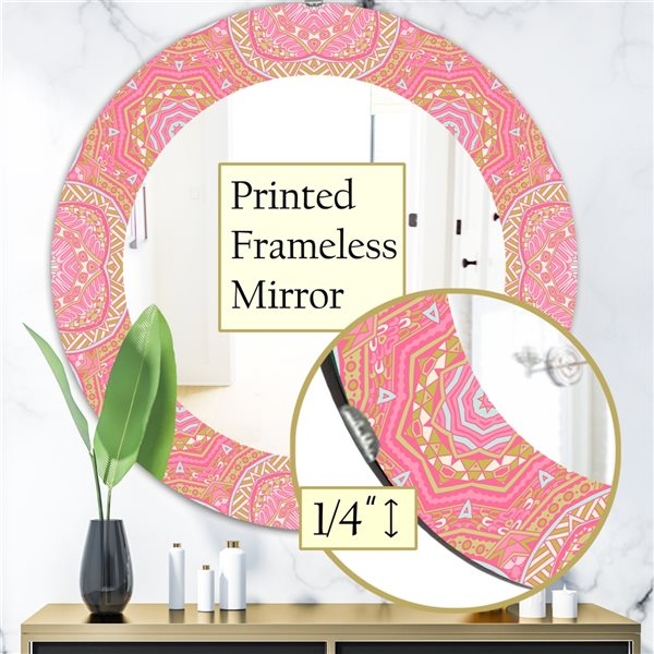 DesignArt 24-in x 24-in Pink Spheres 4 Bohemian and Eclectic Mirror