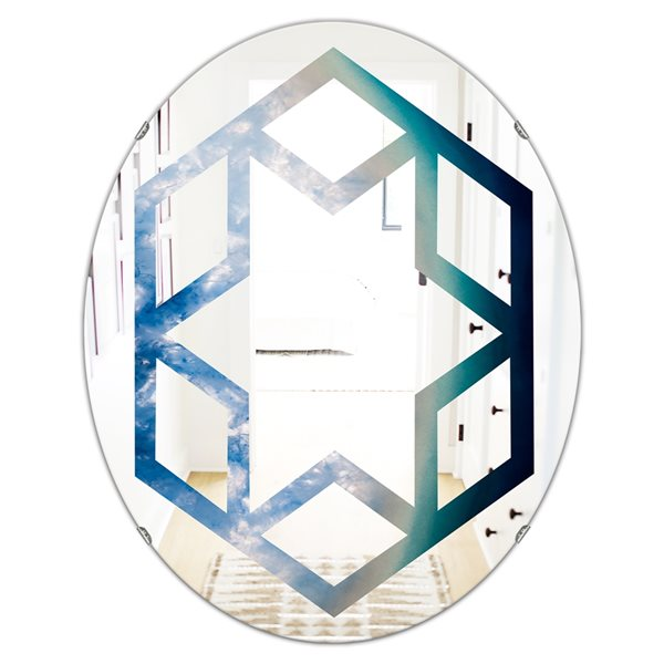 DesignArt 23.7-in x 31.5-in Agate beautiful colorful slices and texture Oval Wall Mirror