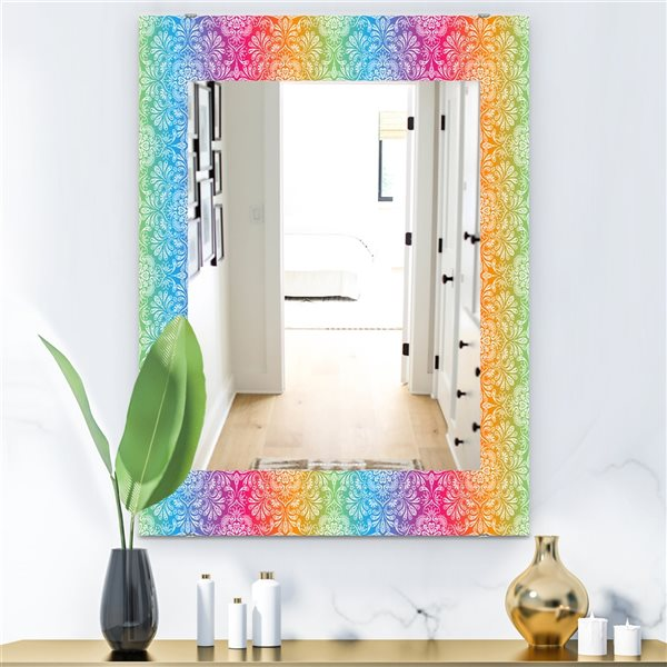 DesignArt 35.4-in x 23.6-in Ethnic Floral Pattern Bohemian and Eclectic Rectangular Mirror