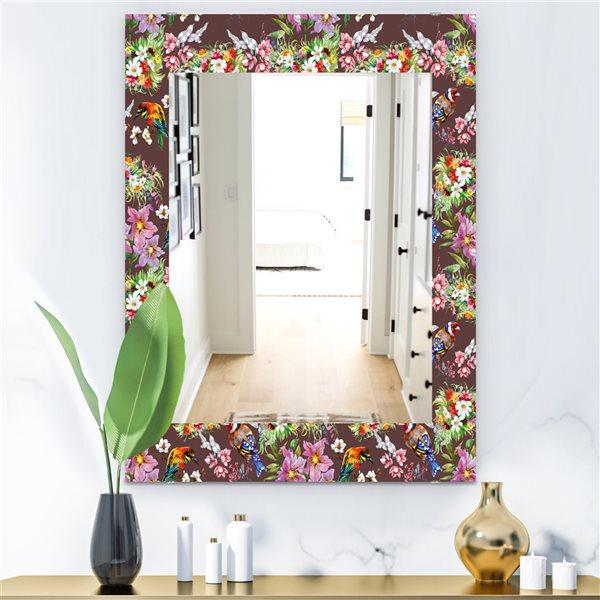 DesignArt 35.4-in x 23.6-in Obsidian Bloom 6 Traditional Rectangular Mirror