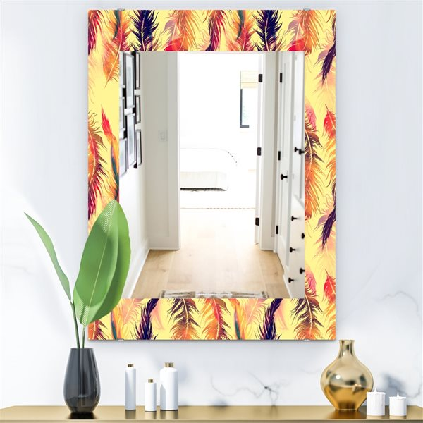 DesignArt 35.4-in x 23.6-in Feathers 13 Bohemian and Eclectic Rectangular Mirror