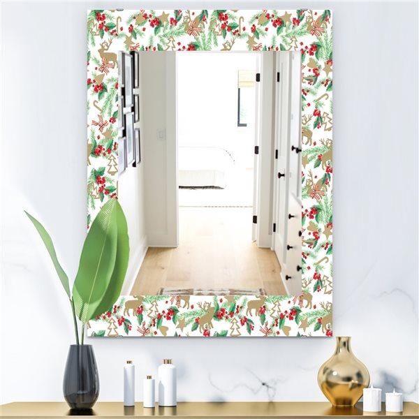 DesignArt 35.4-in x 23.6-in Christmas Decoration Traditional Rectangular Mirror
