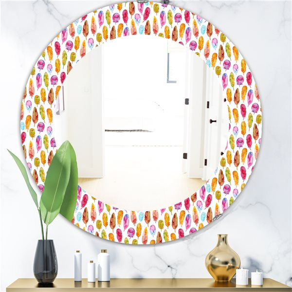 DesignArt 24-in x 24-in Pattern With Colorful Feathers Mirror