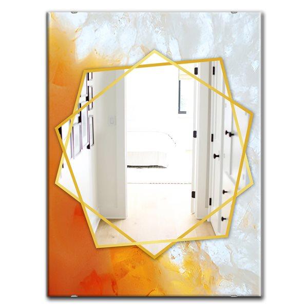 DesignArt 35.4-in x 23.6-in True Yellow Stone Modern Rectangular Mirror