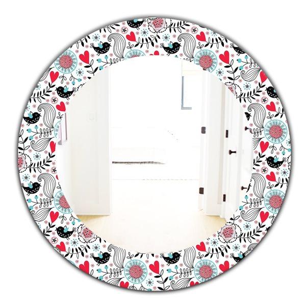 DesignArt 24-in x 24-in Romantic Floral Pattern Modern Mirror