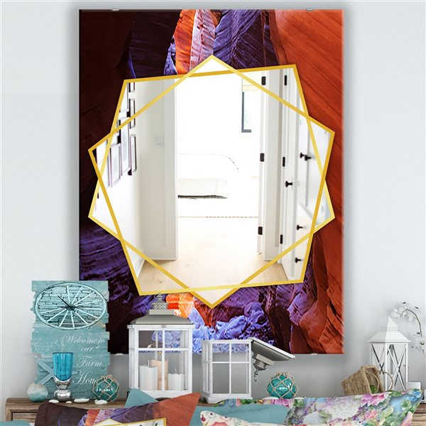 DesignArt 35.4-in x 23.6-in Lightsream Deep In A Remote Slot Antelope Canyon Traditional Rectangular Mirror