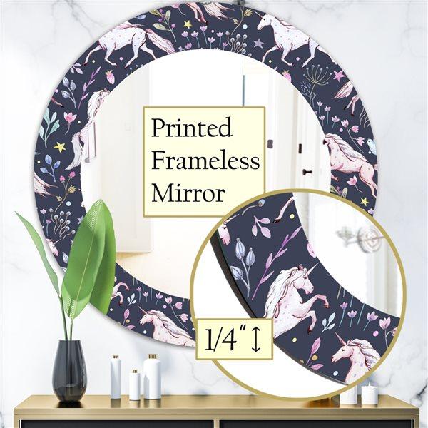 DesignArt 24-in x 24-in Watercolor Unicorn Pattern Modern Mirror