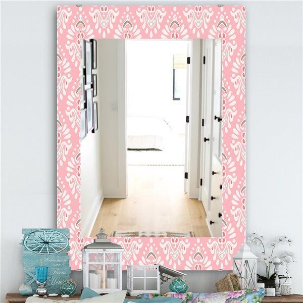 DesignArt 35.4-in x 23.6-in Pink Spheres 2 Farmhouse Rectangular Mirror