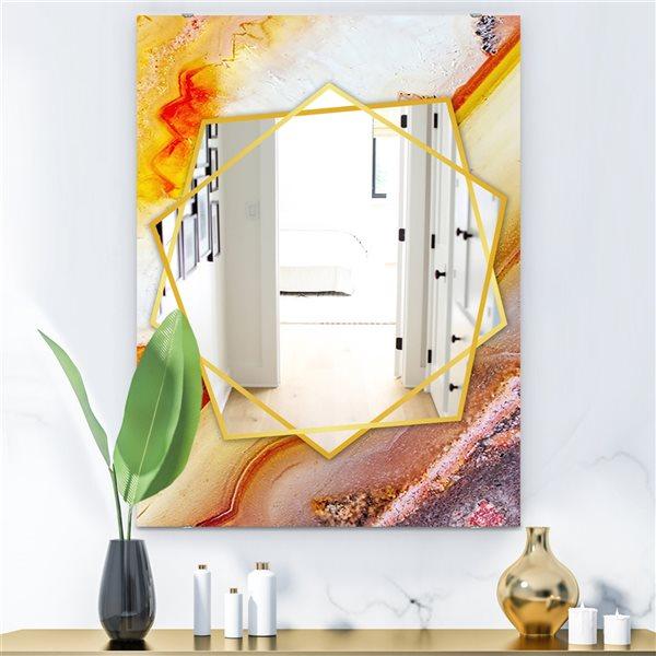 DesignArt 35.4-in x 23.6-in Colors Of The Sun Agate Modern Rectangular Mirror
