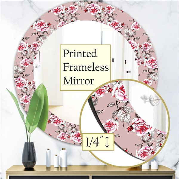 DesignArt 24-in x 24-in Pink Blossom 5 Traditional Mirror