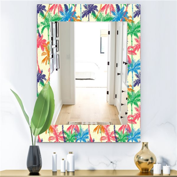 DesignArt 35.4-in x 23.6-in Tropical Mood Foliage 3 Bohemian and Eclectic Rectangular Mirror
