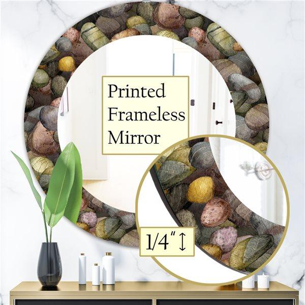 DesignArt 24-in x 24-in Sea and Shore Stones Traditional Mirror