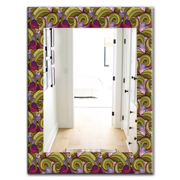 DesignArt 35.4-in x 23.6-in Floral Pattern, Paisley Garden Style Bohemian and Eclectic Rectangular Mirror